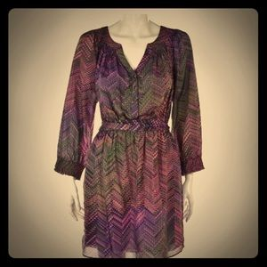 Purple silk tie waist Shoshanna dress